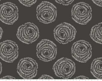 Rosettes in Carbon - Equestrian from Camelot Fabrics - Full or Half Yard Rosettes in Natural on Carbon Black