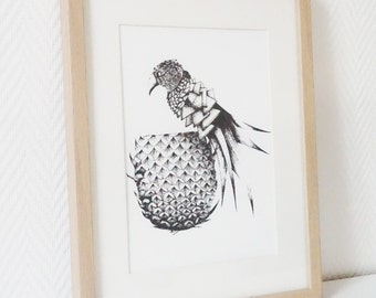 Manually serigraphy black and white PARROT pineapple