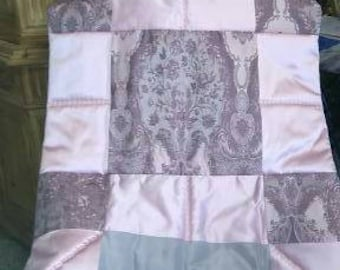 ABOVE cot top silks from Lyon. Pink and gray
