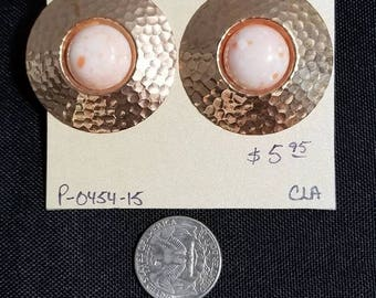 Vintage Earrings- large hammered circles
