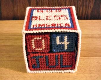 Needlepoint Patriotic Cross Block Calendar // God Bless America Calendar // Perpetual Calendar Block // Patriotic Calendar // Holiday Gift