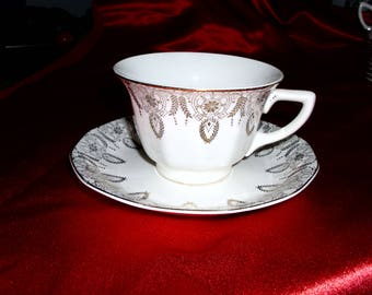Vintage Cup and Saucer Part of Dinner Set by Windsor China Warranted 22-K Gold National Brotherhood of Operative Potters Ohio