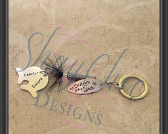 Fishing lure keychain with personalized message and fish names