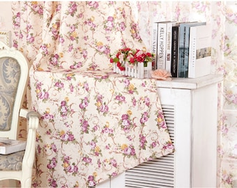 Vintage Chic Curtains Shabby Floral Cabbage Roses pastoral curtain elegant cloth blackout voile sheer for living room window screen cortinas