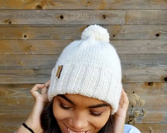 Foldover Brim Knit Beanie with Pom Pom - Hand Knit - Winter Hat - Wood Tag - One Size - Ready to Ship
