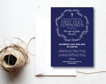 INSTANT DOWNLOAD First Holy Communion invitation / boys 1st Communion / 1st Communion invite / classic 1st Communion invite / boys Communion
