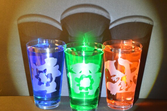 pokemon evolution etched Pub glass set of 3 fan art