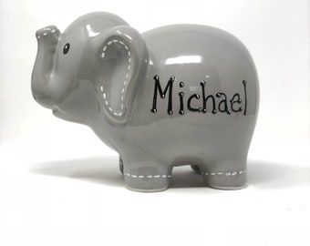 Personalized Elephant Piggy Bank, Hand Painted Piggy Bank for Boys, Baby Shower Gift 1st Birthday Gift for Baby Boy, Baby Boy Gift, Nursery