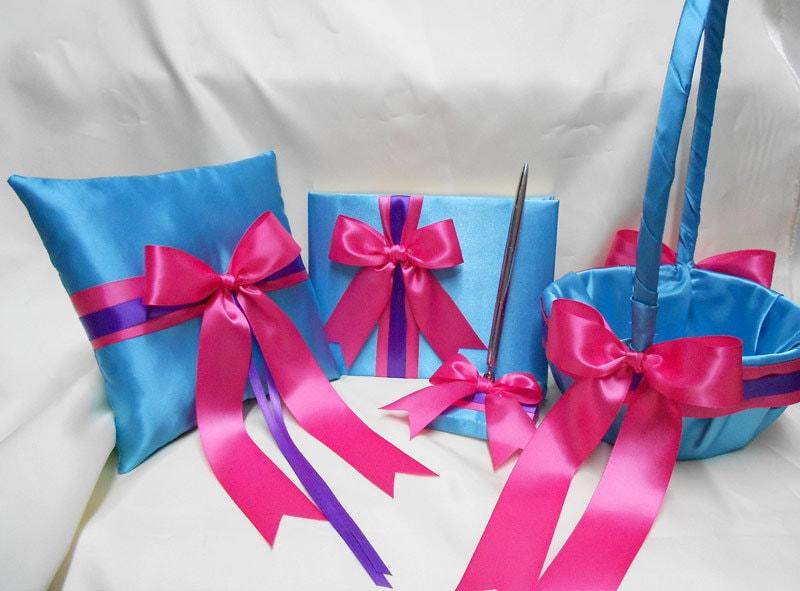 Wedding accessories turquoise hot pink purple flower girl zoom mightylinksfo