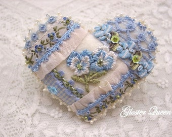 Crazy quilt heart pansy pin with vintage French ribbon and trims