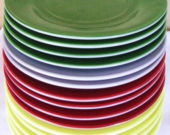 "15 Vintage Milk Glass Hazel Atlas 7"" Plates, Moderntone Ovide chartreuse, gray, burgundy, & green"