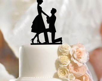 Fiance & Fiancee Cake Toppers Engagement - high quality acrylic, 3mm thickness