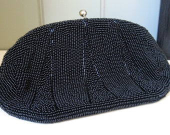 Vintage Black Clutch Beaded Bon Soir Hand Made Japan Beautiful