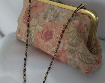 Rose blush pink floral Rustic Wedding clutch blush pink Shabby Chic clutch blush pink floral clutch purse BBsCustomClutches