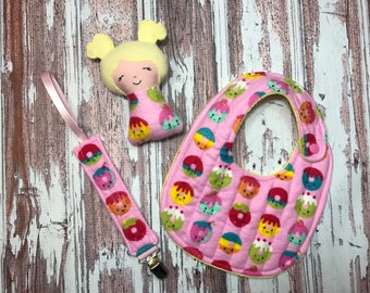 Baby Girl Rattle / Soft Rattle / Doll Rattle / Baby Girl Gift Set / Baby Shower Gift / Baby Rattle / Baby Bib / Pacifier Clip / Personalized