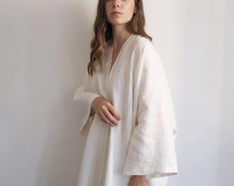 Elegant Linen Kimono - Bridal Robe - Off white - Ivory - Cream robe - Long robe - Bridesmaid robe - Handmade kimono - unique gift for her