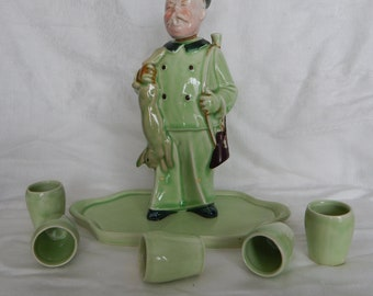 German Schnapps Decanter and Shot Glasses - Hunter Figure