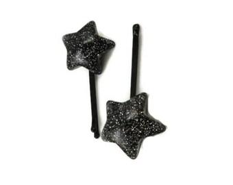 Star Bobby Slides , Hair Pins, Black