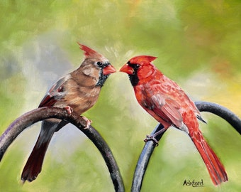 Two Cardinals - Male & Female - fine art paper print