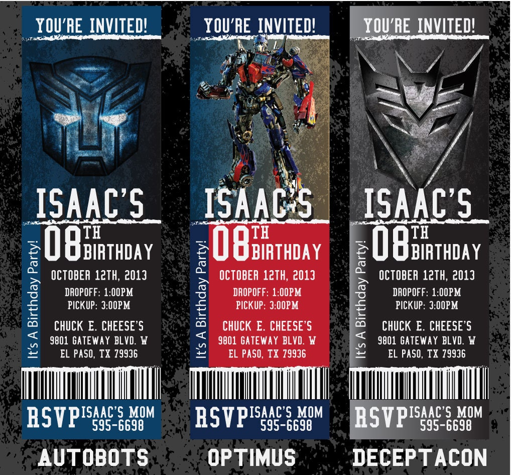 Custom Transformers Birthday/Event Invitation