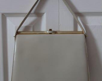 1950s White Faux Leather Purse