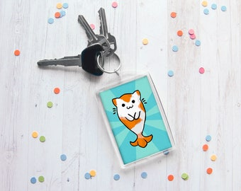 Catfish Keychain, Kitty Koi Keychain, Kitten Drawing, Cat Lover Gift, Funny Keychain, Any Occasion Gift, Ocean, Sea