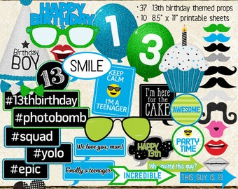 Photo Booth Props, HAPPY 13TH BIRTHDAY, boy, printable sheets, instant download, cyan, lime, party