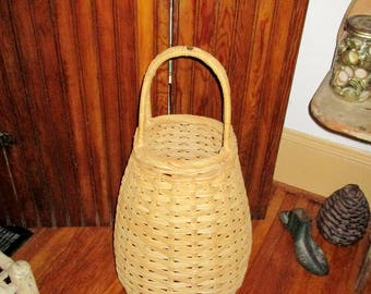 Vintage Woven Wicker Basket Tall Basket with Handles Boho Basket