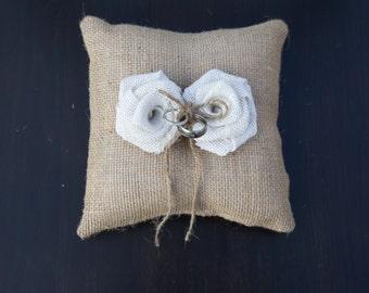 Burlap Ring Bearer Pillow, Ring Bearer Pillow, Wedding Pillow, Wedding Ring Pillow, Bridal Pillow 8x8 square