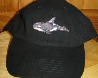 Orca Whale Embroidered on Black Baseball Cap