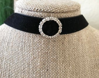 "5/8"" Black velvet choker with circle crystal buckle"