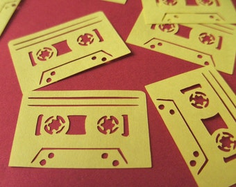Cassette vinyl stickers, Yellow Cassette vinyl embellishments, car sticker, laptop sticker, mixtape sticker, indoor or outdoor
