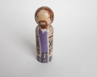 The Dude peg doll, The Dude figurine, the dude abides, The Big Lebowski collectible, the dude cake topper, big Lebowski