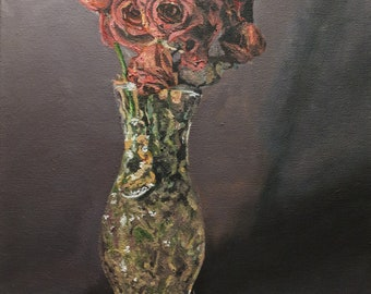 "Dying roses in a vase, Original Painting 11x14"" - The Wilted - by TWAdair Art"