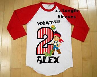 Jake and the Neverland Pirates Birthday Shirt - Raglan Shirt Available