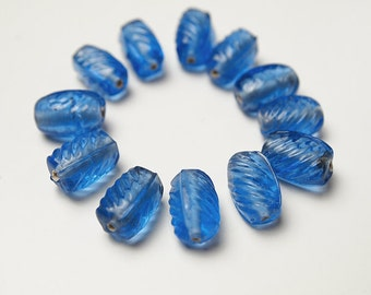 12 Oval Glass Beads Blue Bohemian Style, Size 13 x 8mm Suitable for Earrings, Necklace, Bracelet