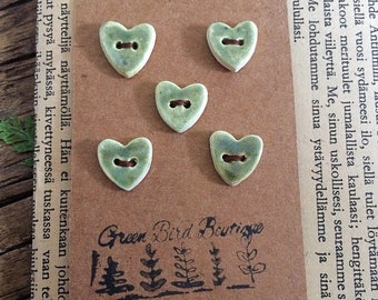 Sage Ceramic Heart Buttons, set of 5 blue stoneware buttons