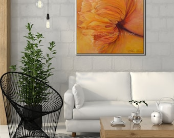 Painting Canvas, Flower Painting, Flower Wall Art, Art Painting, Flower Artwork, Oil Painting Flowers, Orange Painting, Painting Flowers