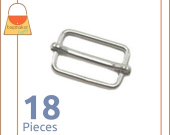 "1.25 Inch Movable Bar Purse Strap Slides, Nickel Finish, 18 Pieces, Handbag Purse Bag Hardware Supplies, 1-1/4"", BKS-AA009"