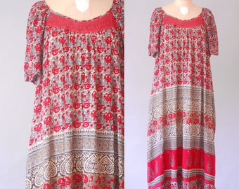 Meera dress  | 70s indian cotton dress | vintage 70s cotton bohemian dress