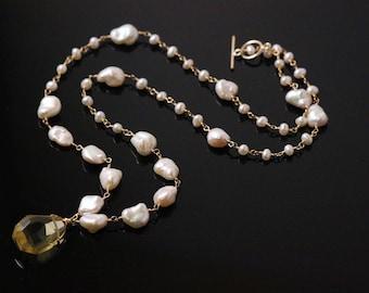 Huge Lemon Quartz Nugget Keshi Pearl Necklace, 14k Gold Filled, Wire Wrapped, Gemstone Necklace, June Birthstone, Rosary Necklace