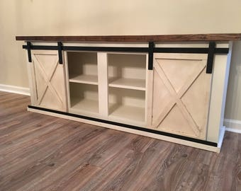 Custom Sliding Barn Door Cabinet- entertainment center, entry, buffet, console, credenza
