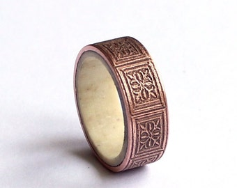 Copper Mens Ring, Mens Antler Band, Wedding Ring, Art Nouveau Engraved Rustic Band