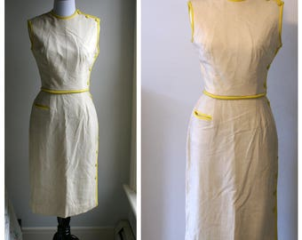 Vintage 1950s Beige and Yellow details Dress Saks Fifth Avenue (The Young Circle)