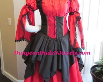 DDNJ Choose Fabrics 4pc Reversible Corset Style Bodice Chemise Skirts Renaissance Plus Custom Made ANY Size Vampire Gypsy Victorian Cosplay