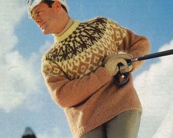 His & Hers Ski Sweaters • 1960s Pullover Patterns • Vintage Fair Isle Jumper Ski Skiing Knitting Pattern • Retro Knit PDF