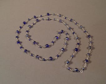 "37"" Blue Glass Wire Wrapped Necklace"