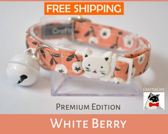 Cat safety collar with bell 'White Berry' - Autumn theme cat collar with breakaway/safety/quick release cat collar