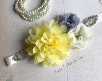Gray Yellow flower sash, Gray Yellow flower wedding belt, gray yellow bridal bridesmaid flower girl sash belt, more colors available