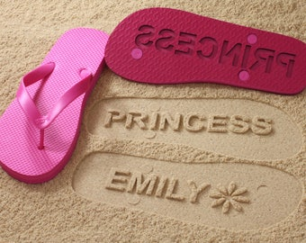 Custom Name Flip Flops - Personalize Sand Imprint Sandals *check size chart, see 3rd product photo*